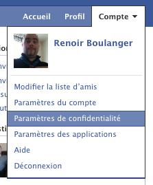 Dialogue Facebook, Accès au Parametres de confidentialité