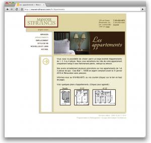 Manoir Saint-Francis : Page avec images cartes généré par GéraniumCMS